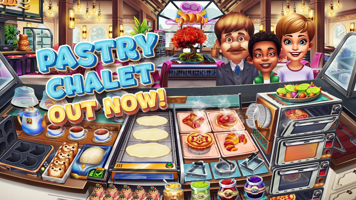 Our new Cooking Fever restaurant is called Pastry Chalet and it's out NOW!  The smell of freshly made pastries surrounds the Alpine Resort. It's time to roll up your sleeves, knead the dough and bake some delicious pastries! https://t.co/Da1wFrAqvT https://t.co/0iogASUr5v