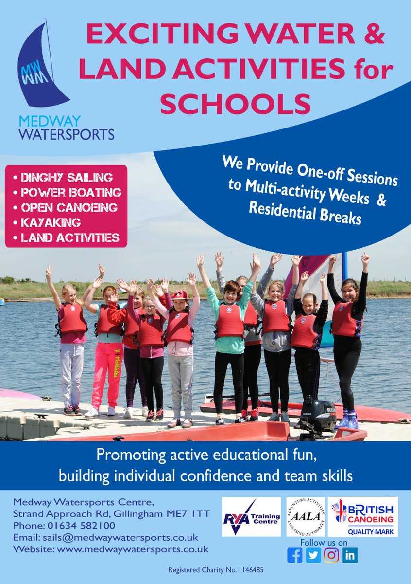 Is your school looking to book future local activities?  Medway Watersports have lots of programmes to offer your school. #watersports #school #activities #medway #medwaywatersports #schoolactivities #kent #rivermedway #health #educational #activepic.twitter.com/oWQGb6T9mn
