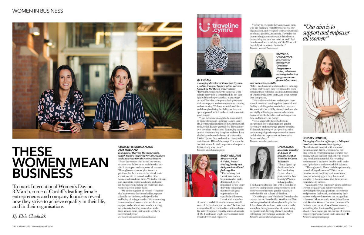 Spotted!!  Our Programme Manager Rowena took part in  @CardiffLifeMag  International Women's Day Campaign.  Read what #equality at work means to her and other Welsh women in business #WomenMeanBusiness pic.twitter.com/clusS7tfYC
