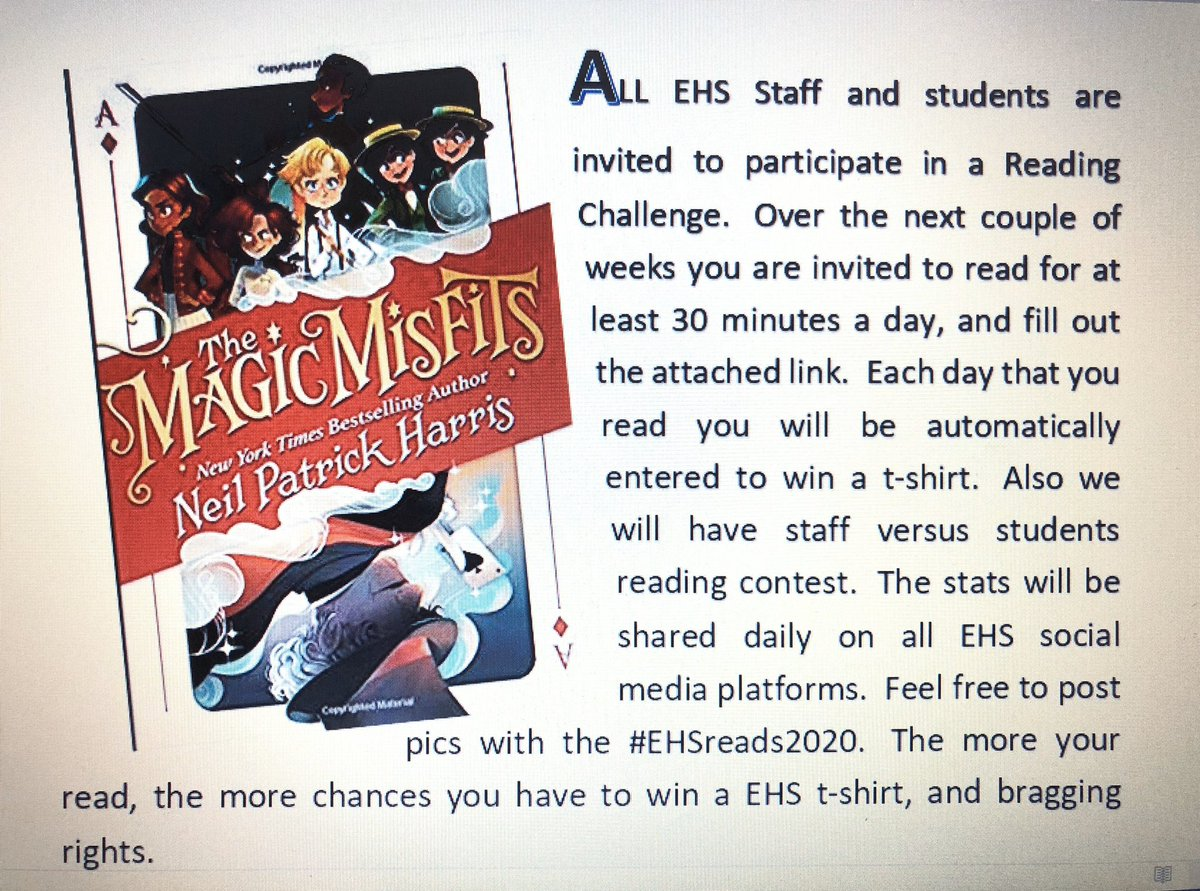 I'm reading #themagicmisfits for @CarlaKent_1 's #EHSreads2020 @ActuallyNPH @EasternHSMedia  What's your story?