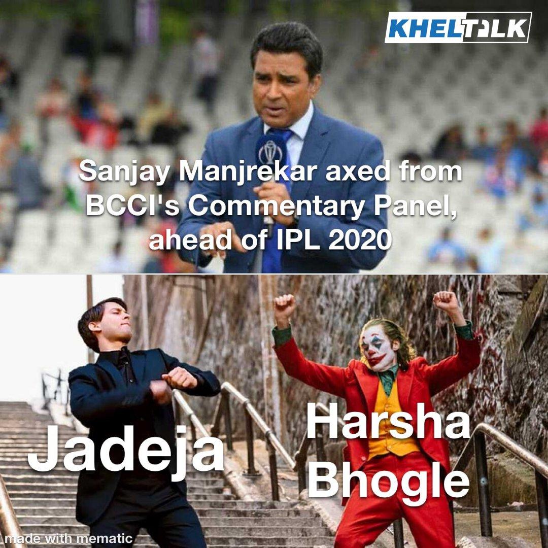 On a lighter Note. He had it coming . . #meme #cricketmeme #memes #fun #joke #lightnote #criket #jadeja #harshabhogle #bcci #ipl #ipl2020 #indiancricket #t20 #beef #memefun pic.twitter.com/MKLi3QHWug