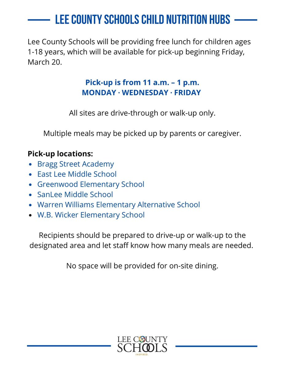 Important information about @leecoschoolsnc Child Nutrition Hubs--Begins Friday, March 20. https://t.co/VI8zBG3ZAf