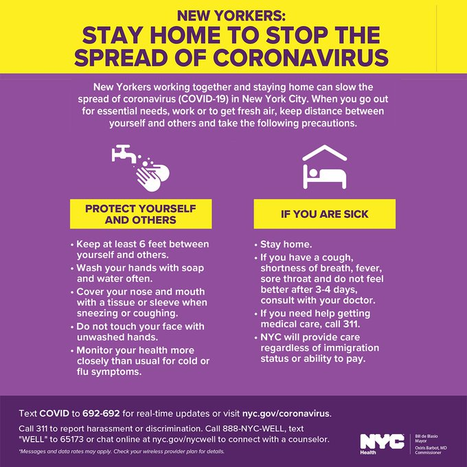 A graphic on coronavirus. New Yorkers should stay home to slow the spread and only go outside for essential needs. They should keep 6 feet of distance, wash their hands with soap often, cover your mouth when coughing and sneezing, don't touch your face and monitor your health. Also if you're sick, stay home, call a doctor if you have symptoms for 3-4 days, call 311 if you don't have a doctor.