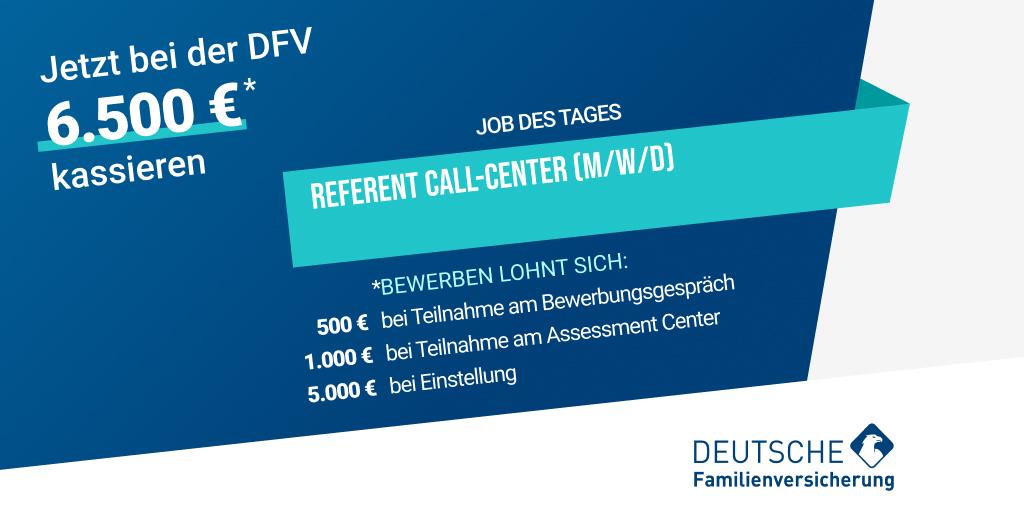 Unser #JobdesTages: Die @DFV_AG sucht einen Referenten Call-Center (m/w/d). Jetzt beim #Testsieger bewerben und 6.500€ Wechselprämie erhalten!   https://t.co/oMge1Fzysb   #insurtechgermany #insurtecheurope #weildumehrverdienst #jobdestages #wearehiring https://t.co/VtrvAcXs1e