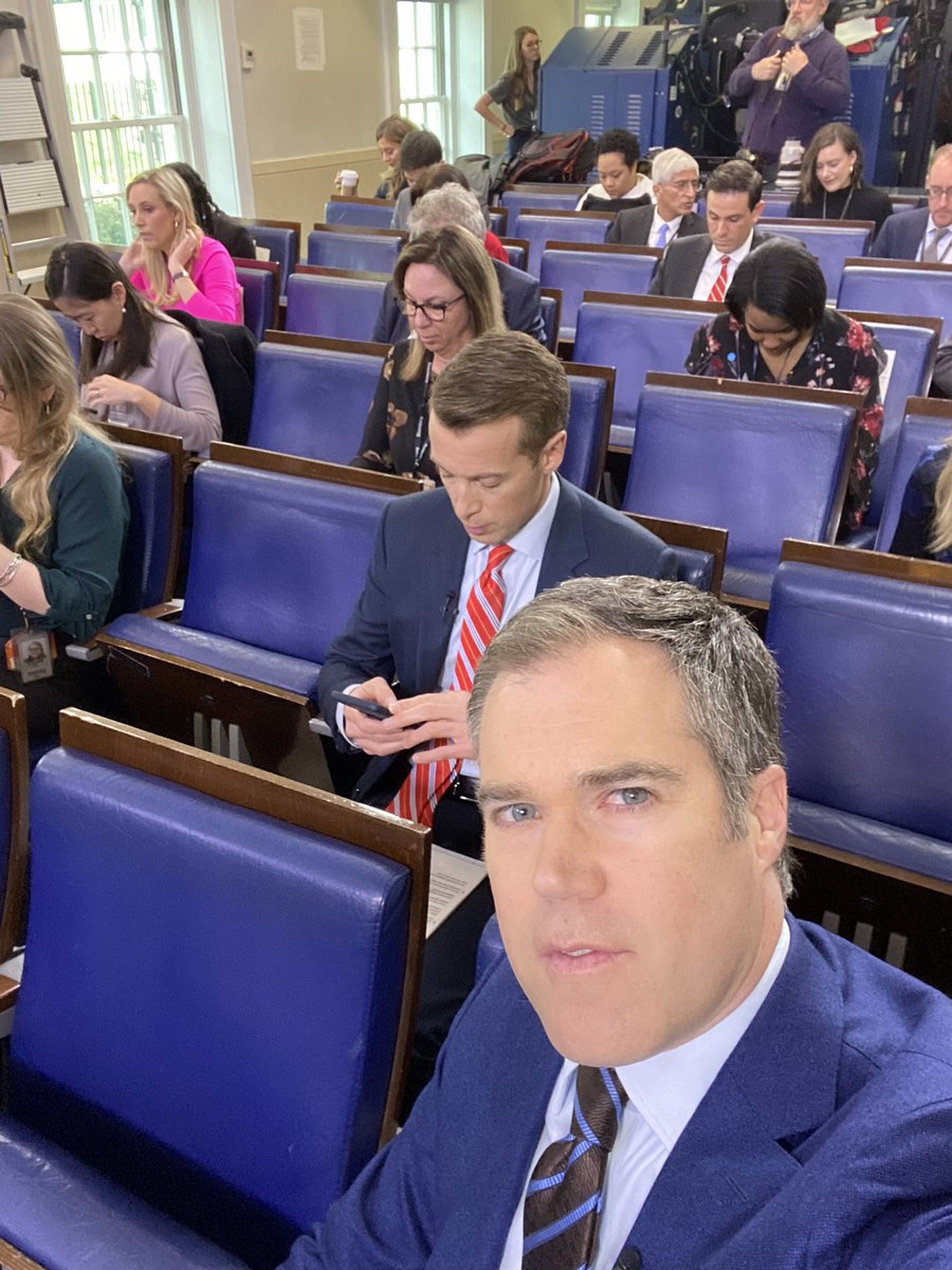 Socially distanced in the White House Briefing Room. Awaiting President Trump now.