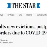 Image for the Tweet beginning: Province halts new evictions, postpones