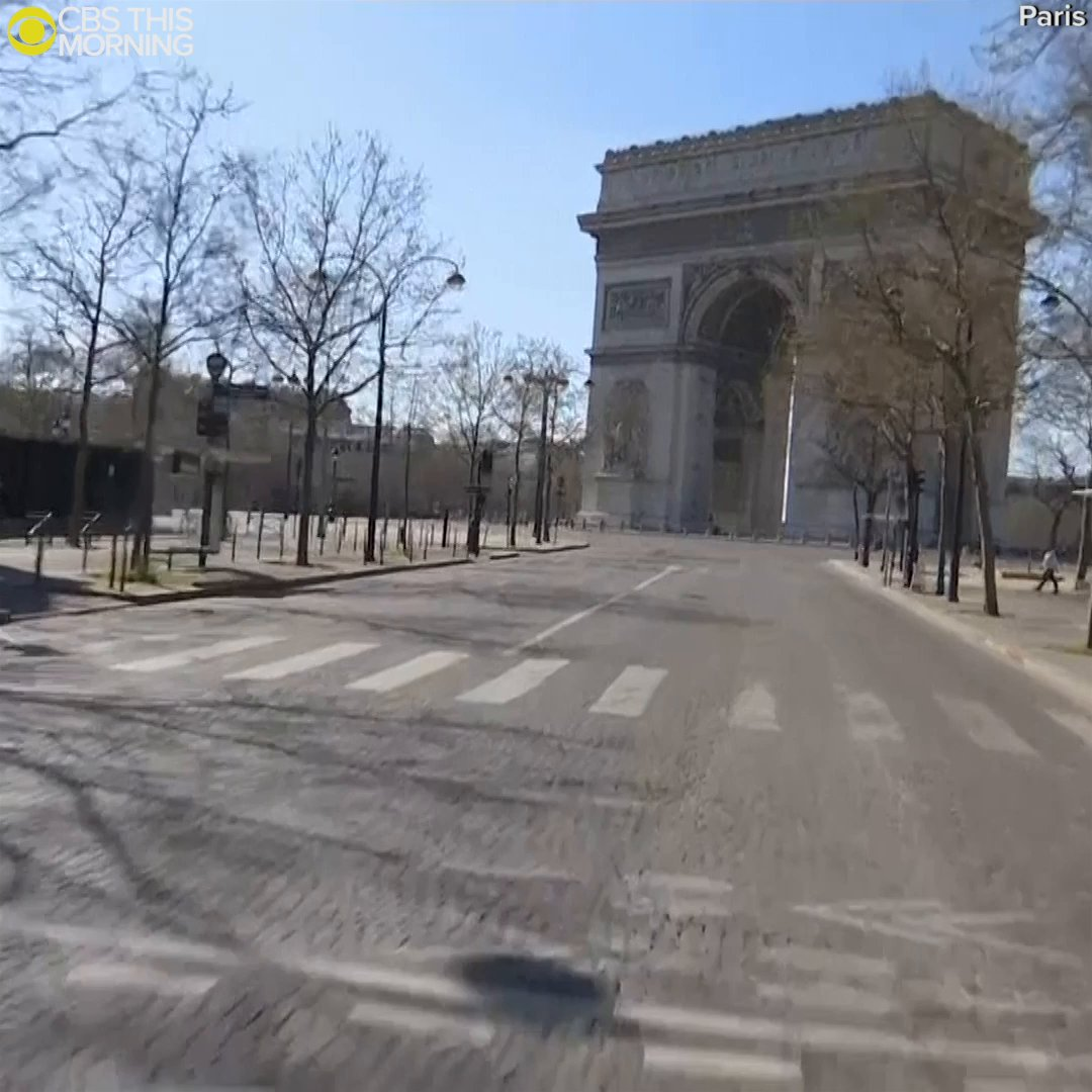 The streets of Paris appear nearly empty Wednesday as the lockdown in France due to the #coronavirus enters its 2nd week.  Popular landmarks such as the Arc de Triomphe and the Eiffel Tower were nearly deserted.pic.twitter.com/AiBldHmm6B
