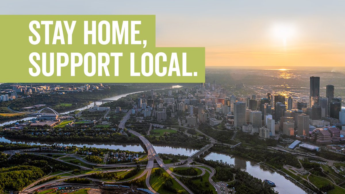 Edmonton, we're all in this together. Support Local comes in many forms - and right now it's done best from your own place.  Your Guide to 'Staying Home and Supporting Local in Edmonton'  https:// bit.ly/3bsO3fu     #ExploreEdmonton<br>http://pic.twitter.com/QYjxrKP46t