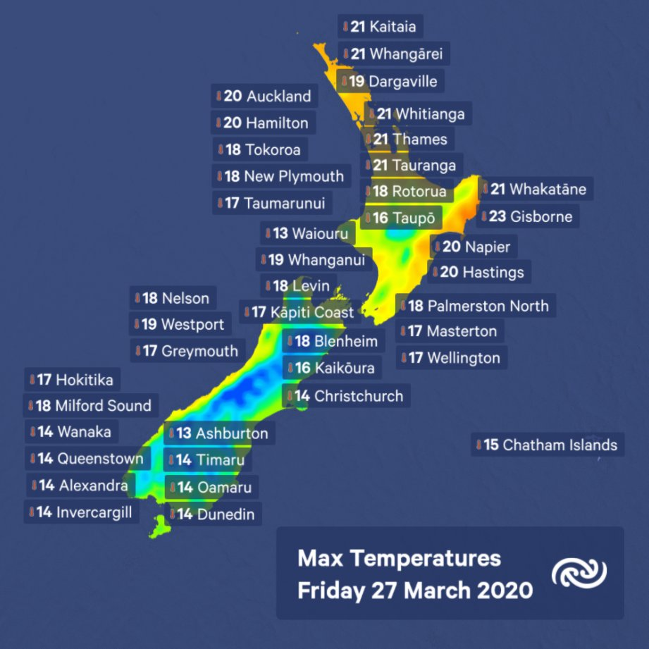 Perfect indoor weather tomorrow with a drop in temps expected for most Places in the lower South Island not going above 15°C. However at 23°, Gisborne could be great for a solitary walk before the front comes through bit.ly/metservicenz  ^MM https://t.co/8Eavg8YVG7