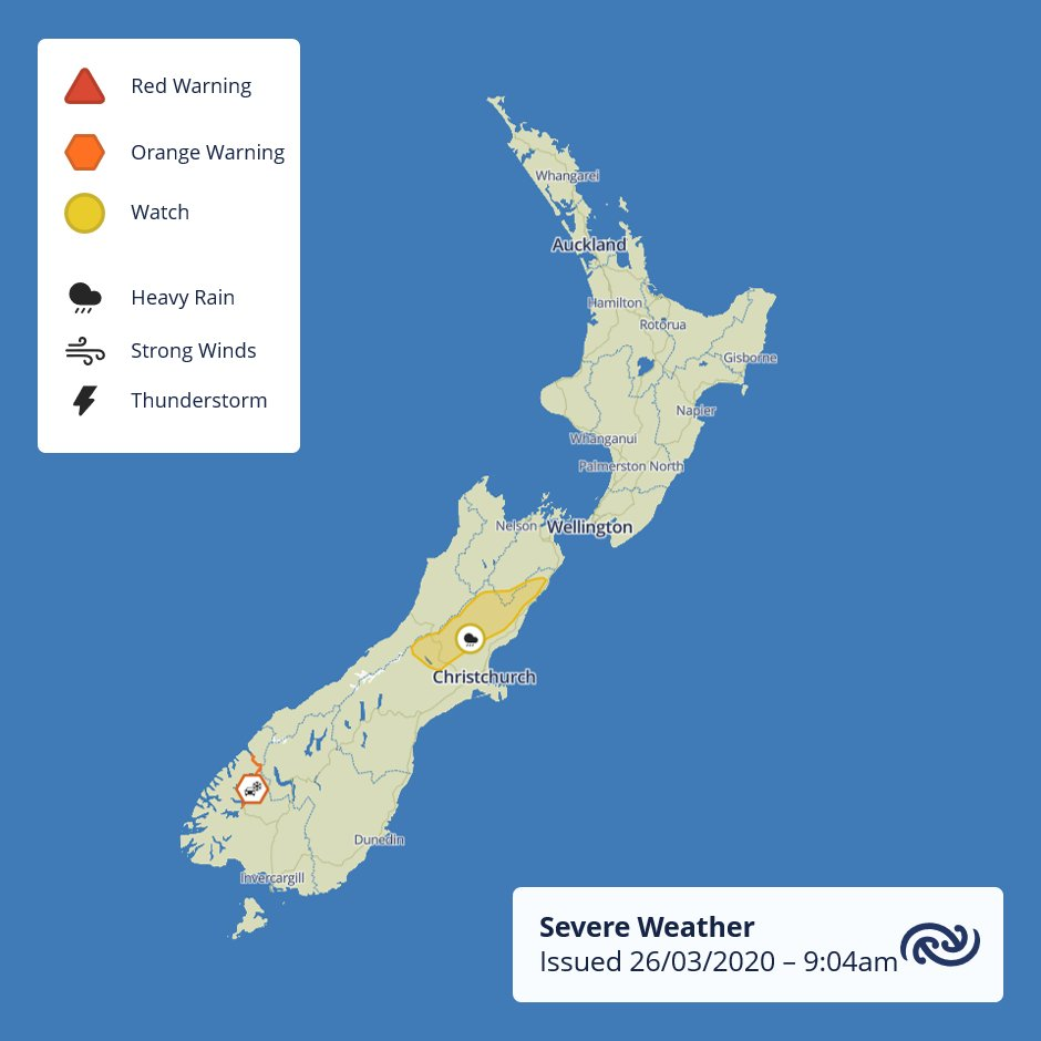 A Heavy Rain WATCH has been issued for the Canterbury High Country for tomorrow as a low moves northwards east of the South Island. Keep a close eye on bit.ly/AllWarnings for further updates ^MM https://t.co/4JZNdsmeye