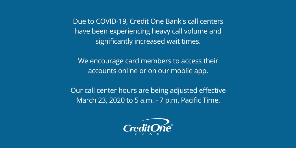 """Credit One Bank on Twitter: """"Due to COVID-10, we have been"""