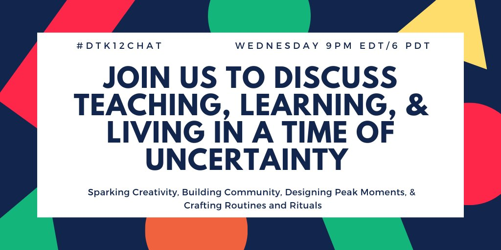 join @mpowers3 & me TONIGHT at 9pm EDT/ 6pm PDT for #dtk12chat