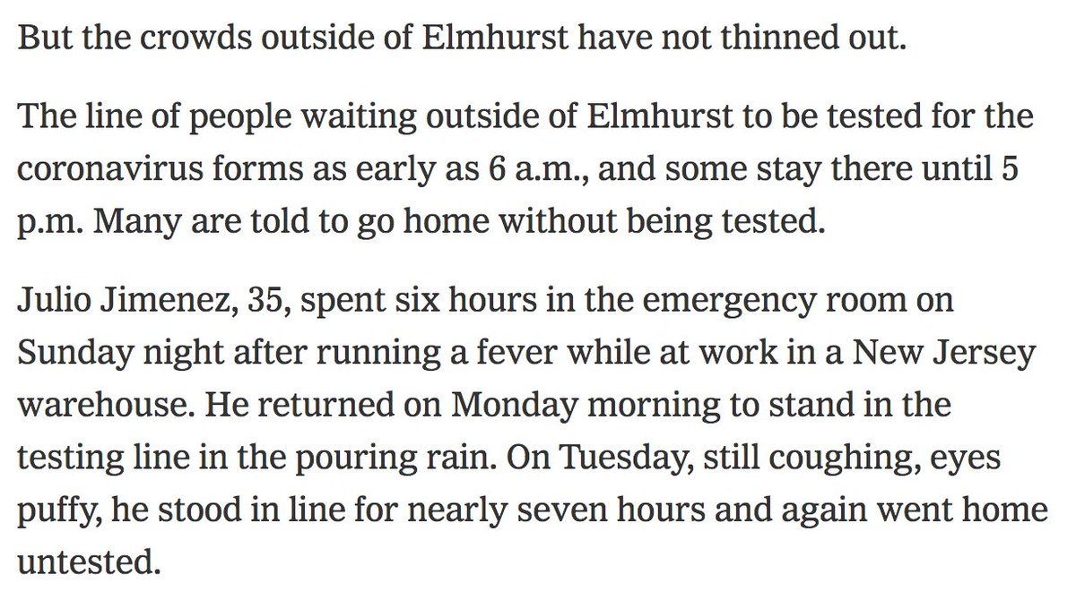 Read this horrific testing saga of Julio Jimenez, who tried for hours on three separate days to get tested at Elmhurst hospital.    https://www. nytimes.com/2020/03/25/nyr egion/nyc-coronavirus-hospitals.html  … <br>http://pic.twitter.com/8stL6VS9zW