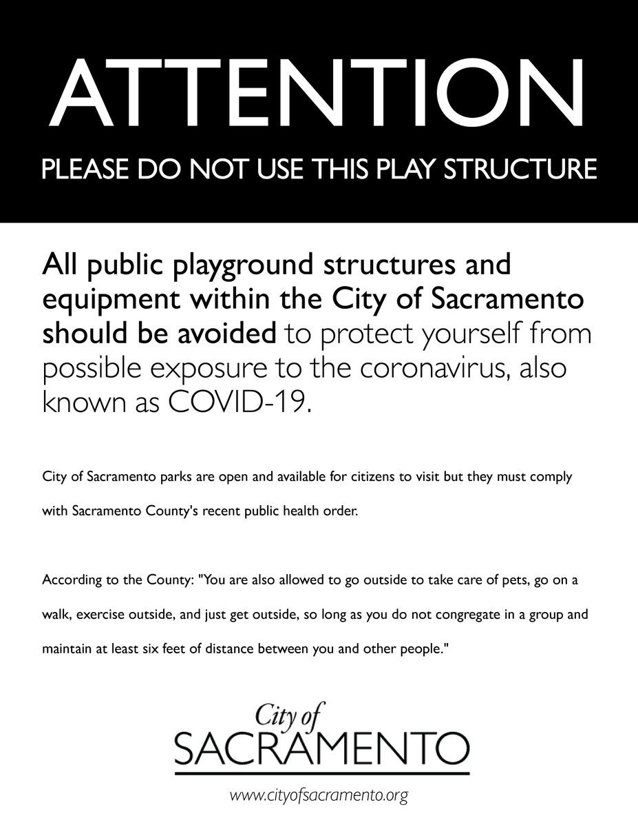 Starting tomorrow, the City's Youth, Parks, & Community Enrichment Department will post these signs at City parks to discourage people from using play structures during the COVID-19 outbreak.   For more information about City parks, visit: https://t.co/RFLl6PUXux https://t.co/40wRmA4sO5