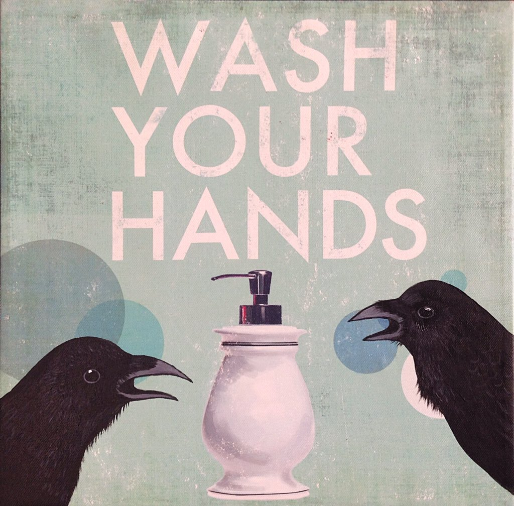 Wash your hands, crows; acrylic painting on found art jenzelart.tumblr.com #corvid #covid