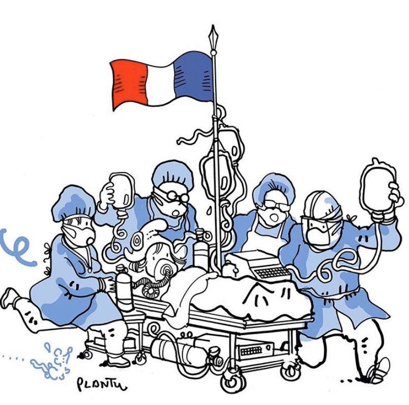 Tribute to the medical staff who work around the clock to save lives - @plantu (French cartoonist) @lemondefr #coronavirus #Staysafe #Hospital #health #home #medical #staff