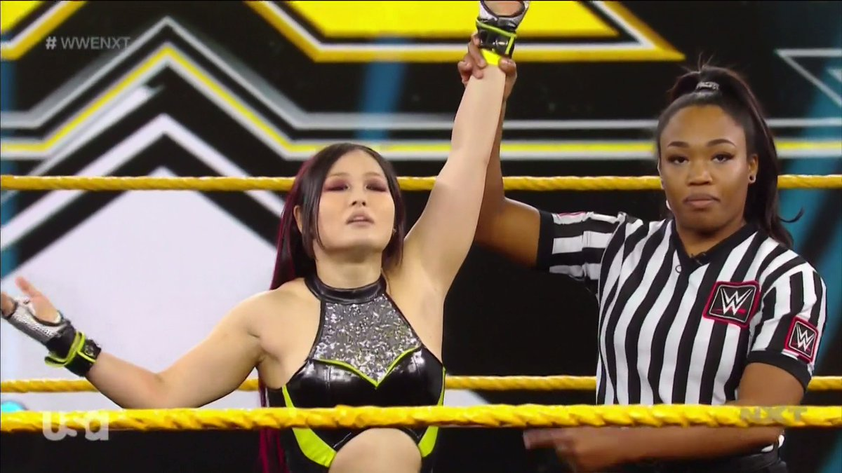 Pure GENIUS.  @shirai_io defeats @WWE_Aliyah to qualify for the No. 1 Contender's #LadderMatch! #WWENXT <br>http://pic.twitter.com/T7SvQIAq5s