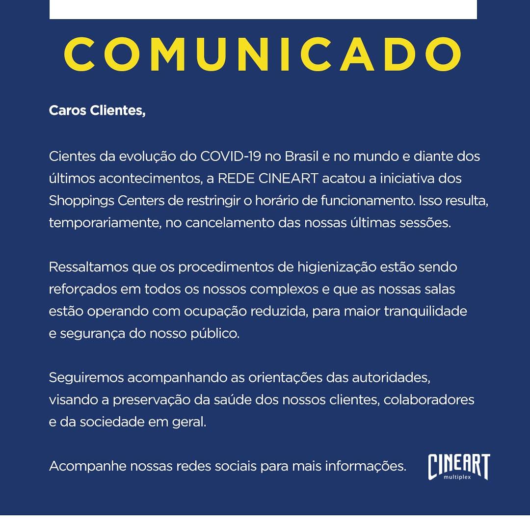 Posicionamento do Cineart Multiplex sobre a epidemia de COVID-19 no mundo. https://t.co/9SrYeBlmpm