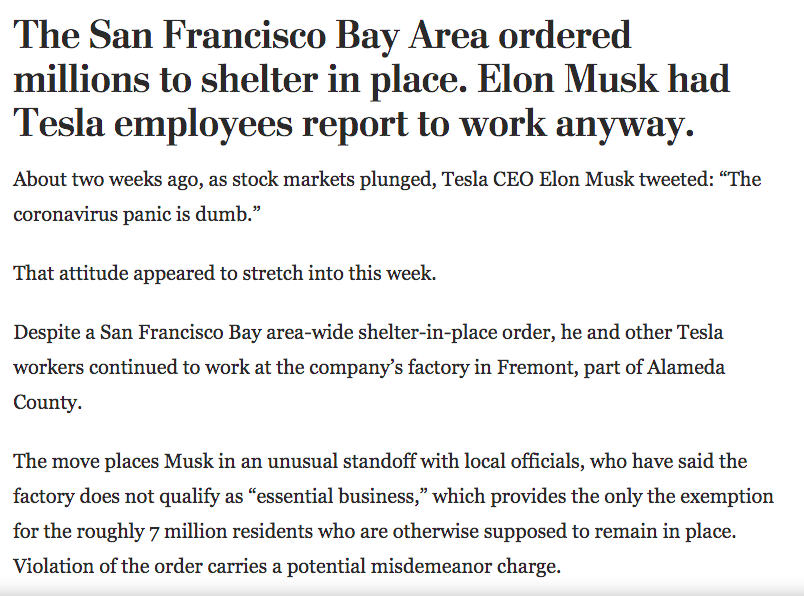 Hey @elonmusk, any reason why you made Tesla workers risk exposure to #COVID19?
