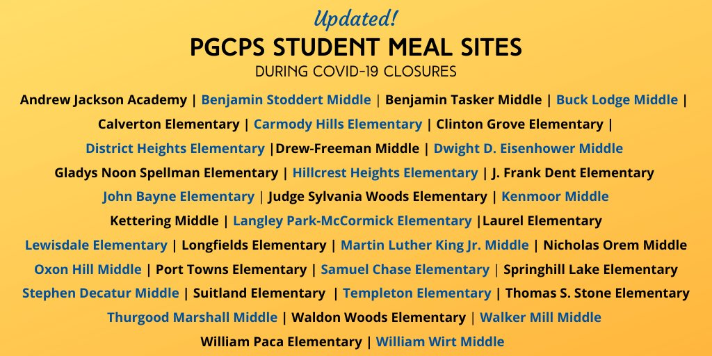 Updated PGCPS Meal Sites
