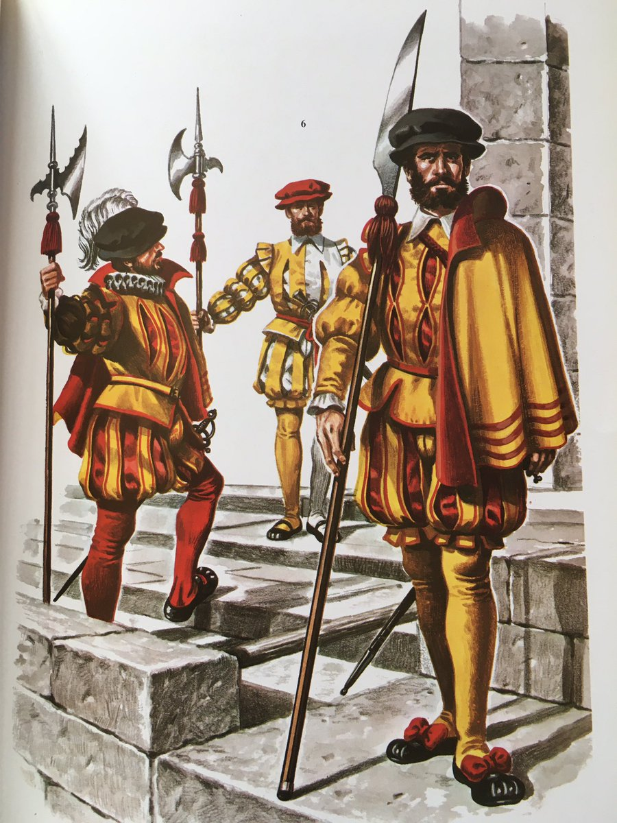 De izquierda a derecha: Guardia Española, Guardia Alemana y Archero de Borgoña.   (Ilustración de Delfín Salas). https://t.co/uMkjTtPnA0