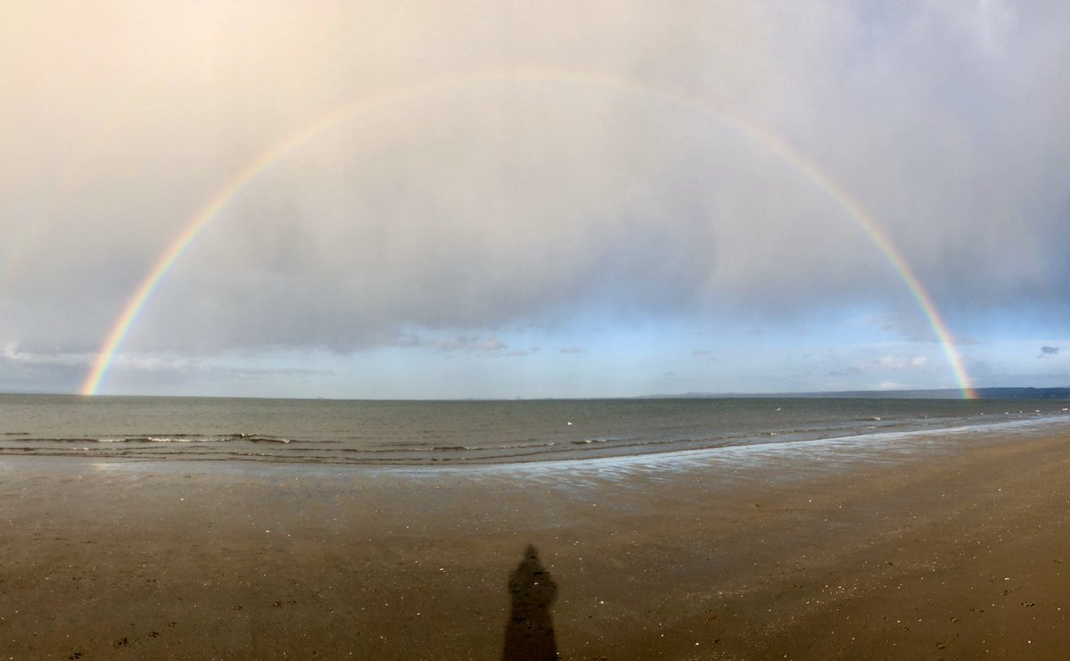 I took this so quickly, that only when I got home I noticed I was in it.  My very own rainbow! #rainbow #portybeach #edinburgh #scotland #photoofday #photography #natureloverpic.twitter.com/MgPCymZTNd