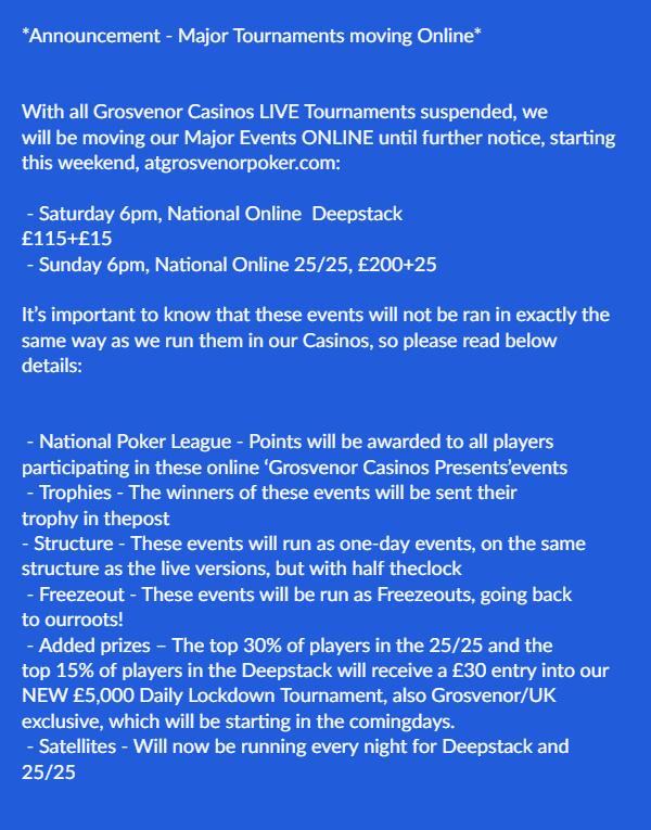 *Announcement - Major Tournaments moving Online*