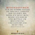 Image for the Tweet beginning: Beten schafft Raum für die