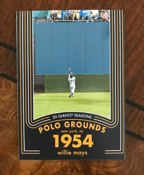 2020 Topps Heritage #5: Willie Mays - 20 Gigantic Seasons  This is part of a 20-card insert set detailing Willie Mays' career. This is a damn nice pull, huh?  Retweet this by 4pm ET today and I'll pick a random retweeter to receive this card in the mail. https://t.co/NPCmbJNecI