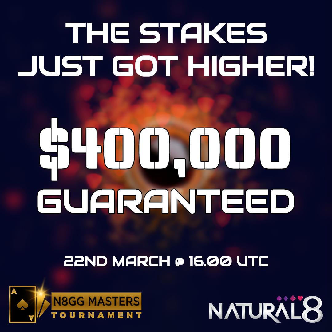 Guarantees smashed? Let's raise the bar!  #natural8 #N8GGMasters #poker #JustDoIt #onlinepoker #tournament #Sundaypoker #promo #freezeout #OneShotOneOpportunity #pokerlife #pokergrind #cardgame #nlhe https://t.co/putW3H4ngH