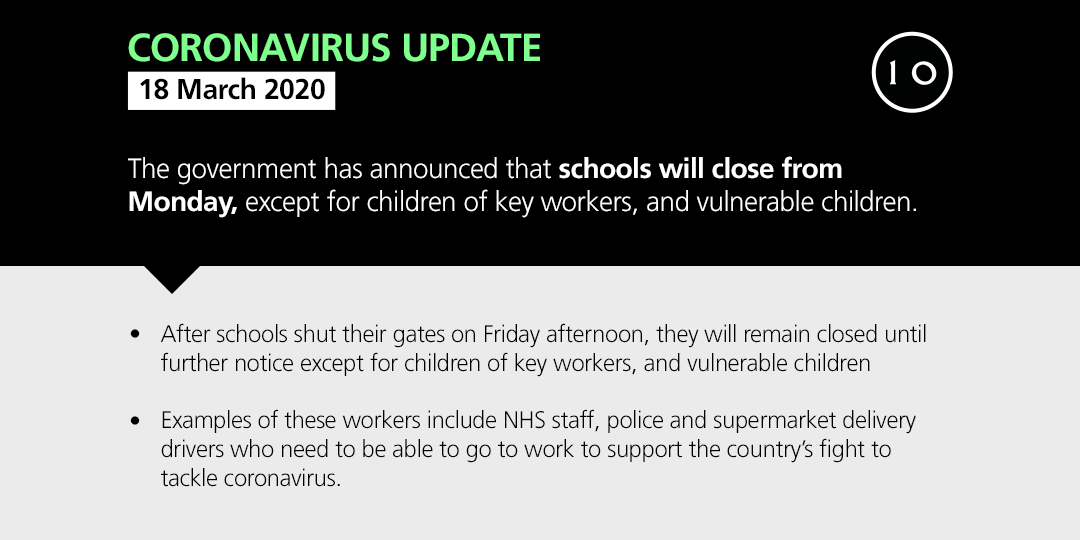 The government has announced that schools will close from Monday gov.uk/government/new…