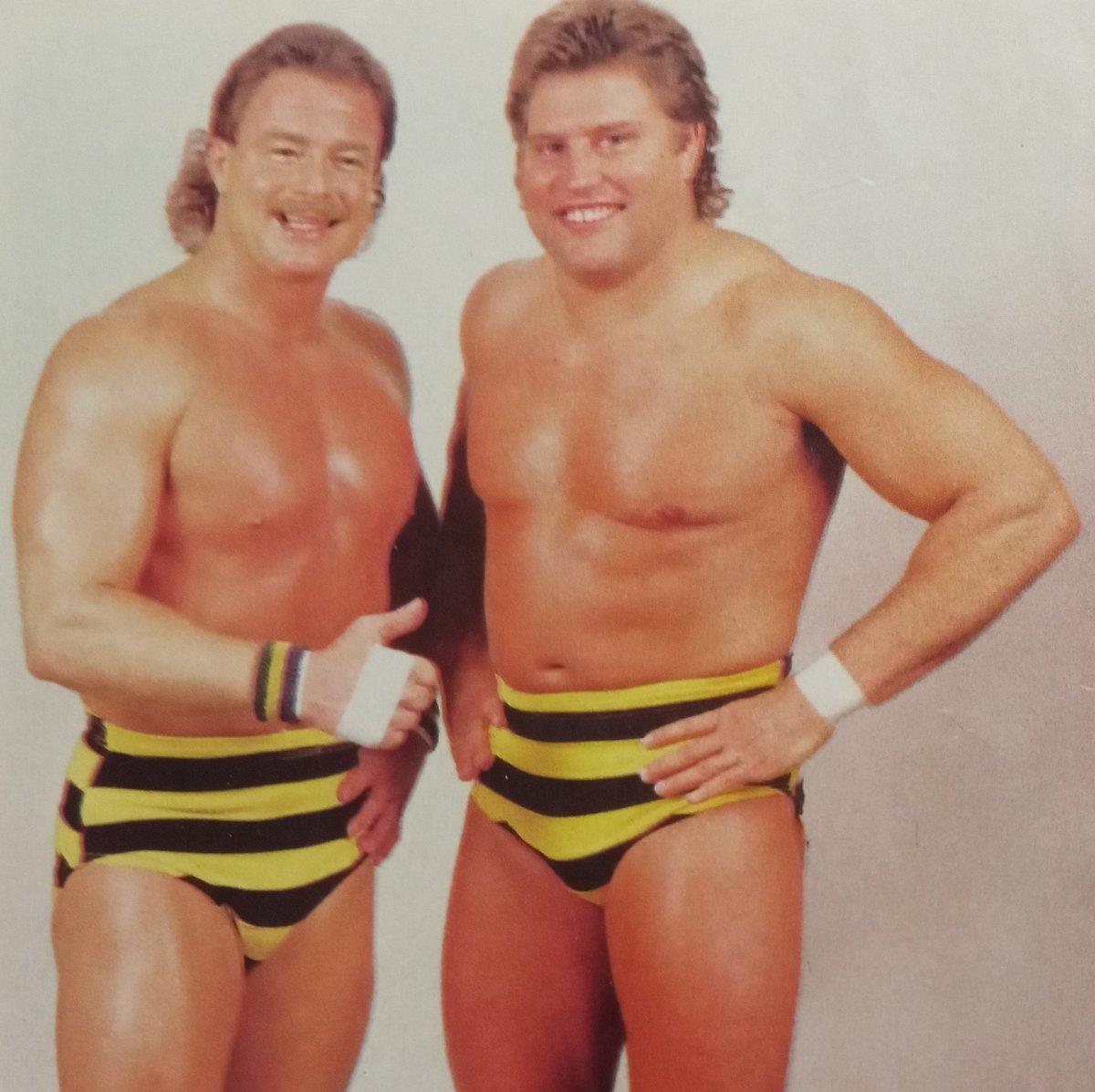 "Rasslin' History 101 on Twitter: ""B.Brian Blair and Jumping Jim Brunzell:the high-flying Killer Bees circa-1987… """