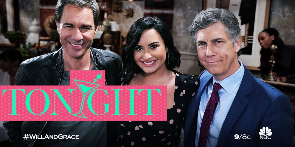 Spend your Thursday night with the Fab Four, @ddlovato, and Chris Parnell! ❤️ #WillAndGrace