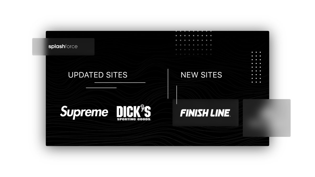 Very excited for what's coming for Splashforce users.  New/Updated Sites: • Supreme  • Dicks Sporting Goods  • Finish Line • 🤫(Coming Soon)   Let's giveaway a copy to a random retweet & reply. 🌊❤️ https://t.co/x8JJyWfuMY