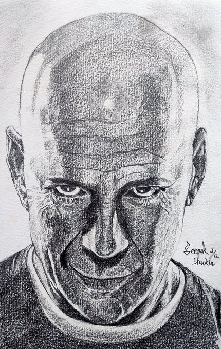 Happy Birthday Bruce Willis (Pencil on textured paper)