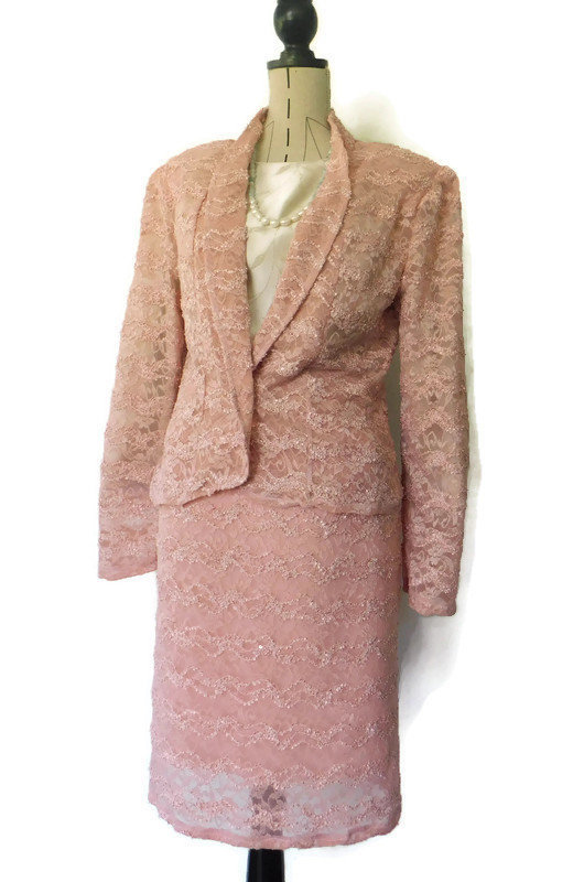 Excited to share the latest addition to my #etsy shop: Pink Lace Suit  #clothing #women #pink #wedding #formalevent #zipper #longsleeve #suit #skrit #EtsyStore