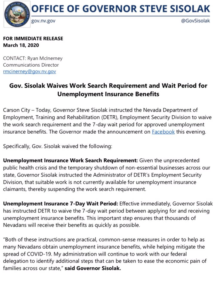 Governor Sisolak On Twitter Today I Instructed Detrjobconnect