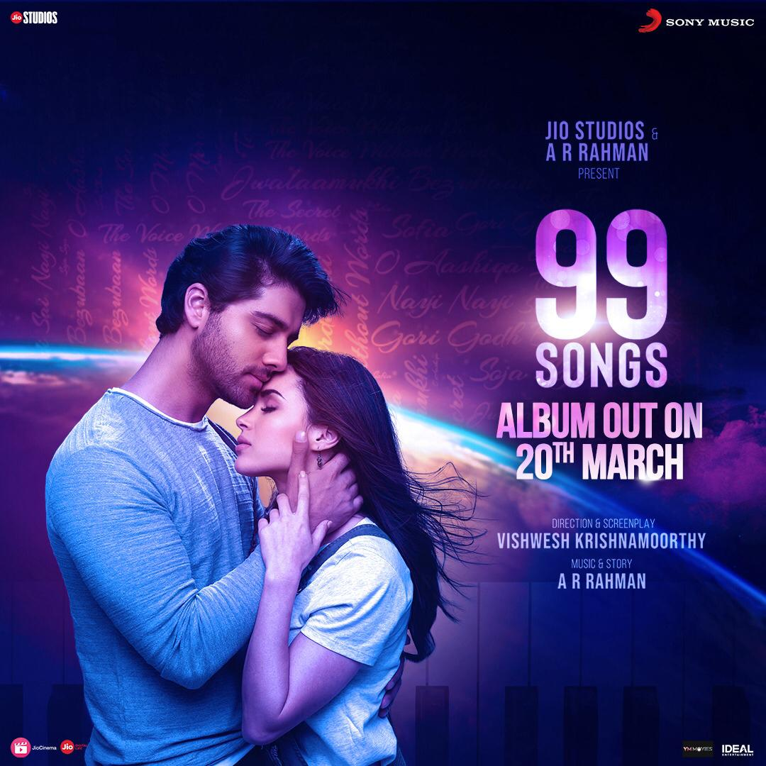 Cheering you in this difficult times with the release of the '#99Songs' whole album on 20th Mar. This includes 14 tracks. Go post your covers, all you birds stuck in your nest 😊   @sonymusicindia @vishweshk @itsEhanBhat @idealentinc @YM_Movies @jiostudios #99songsthemovie