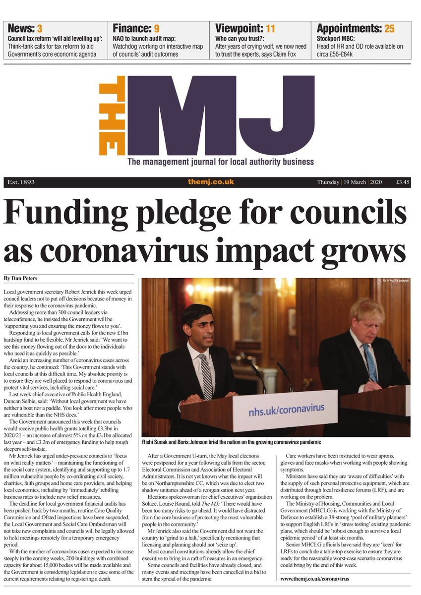 RT @themjcouk Hello #localgov  We know you are doing an amazing job in difficult circumstances.   We want to support you - so we are putting The MJ out as an ebook, each week throughout the crisis - access anywhere, completely free, on our website each thursday  https://t.co/P4Rc8jf5nT