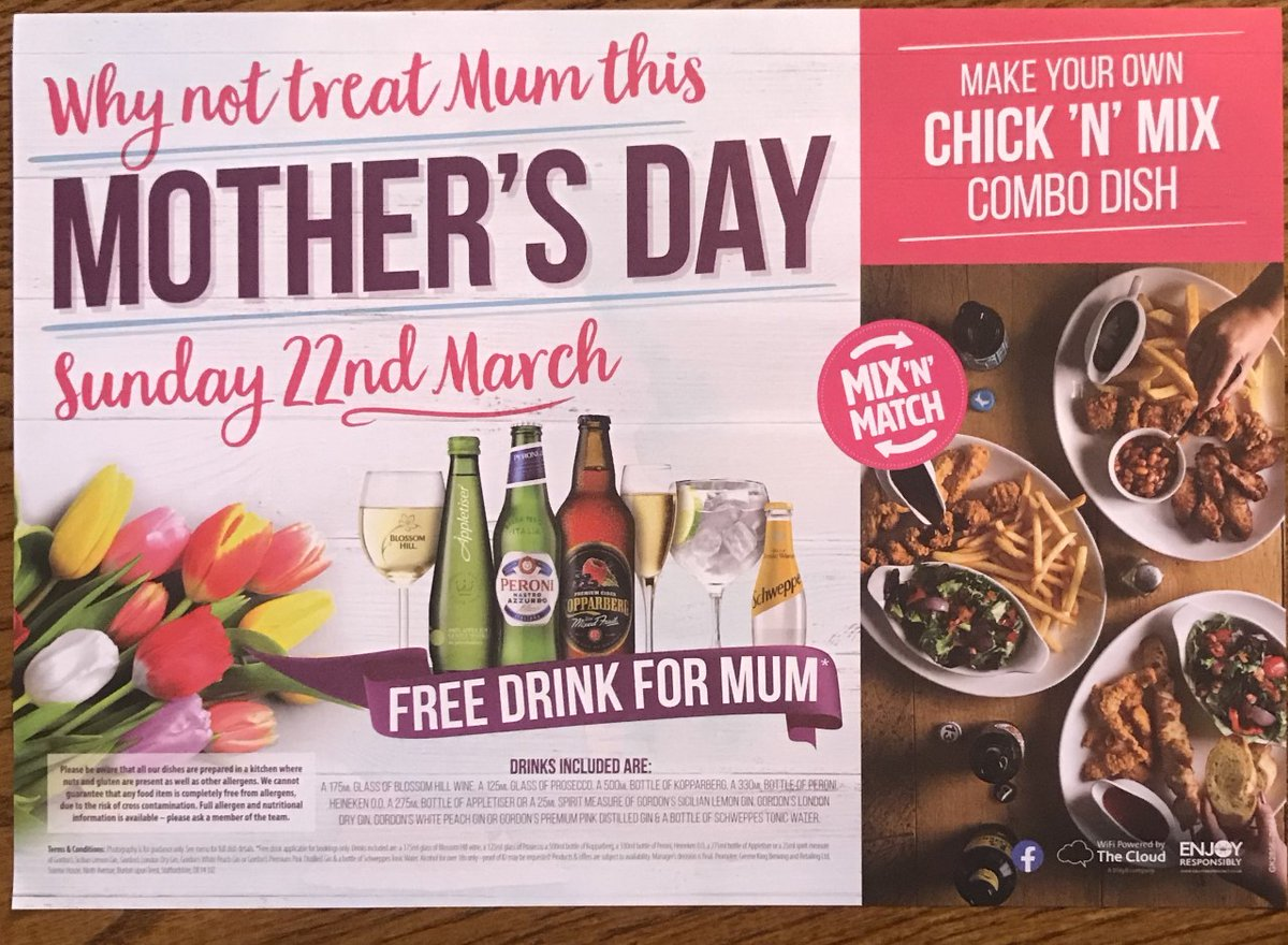 Mothers Day THIS SUNDAY - Mums get a FREE drink with any booked table - To BOOK now either call 01604 631240 or pop in and see us...
