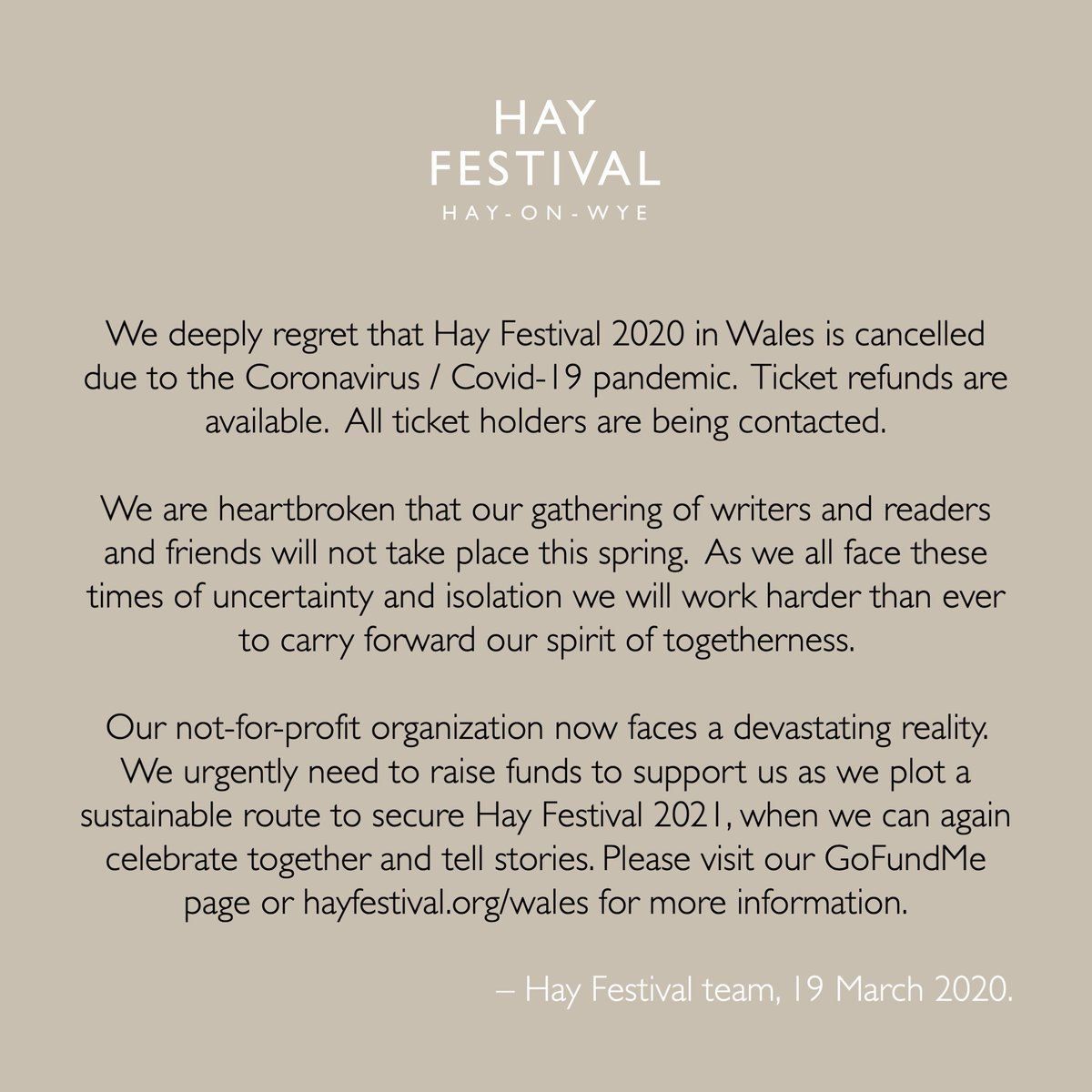 Haymakers, some important news. hayfestival.org/wales #HelpHayFestival