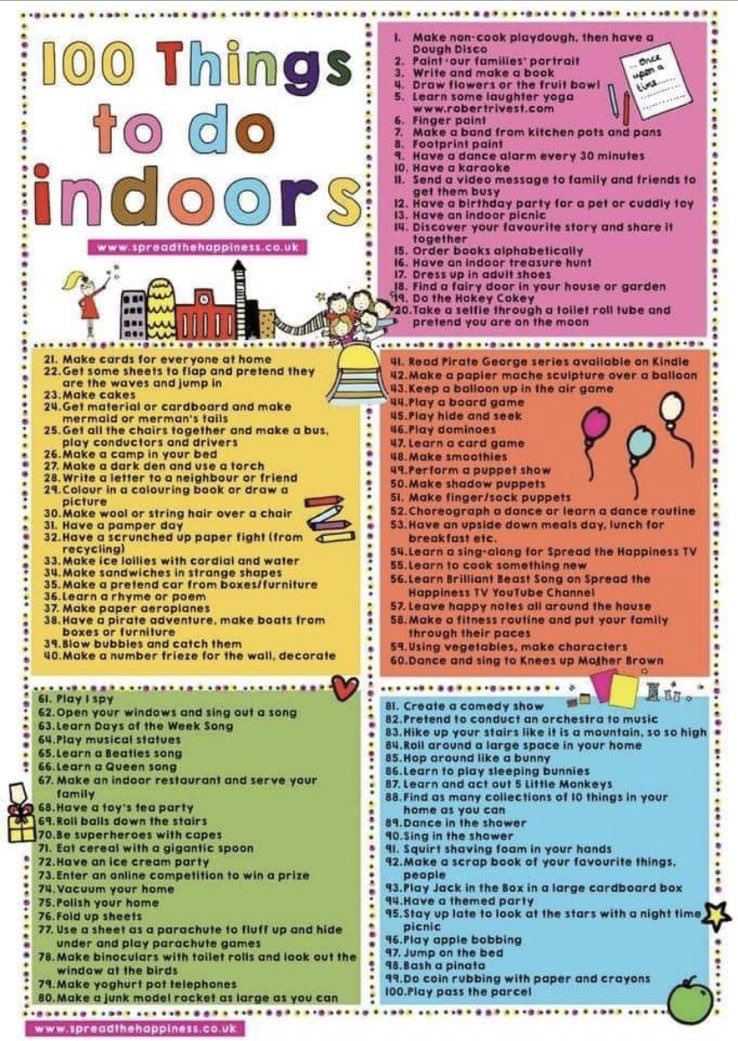 Image result for 100 things to do indoors