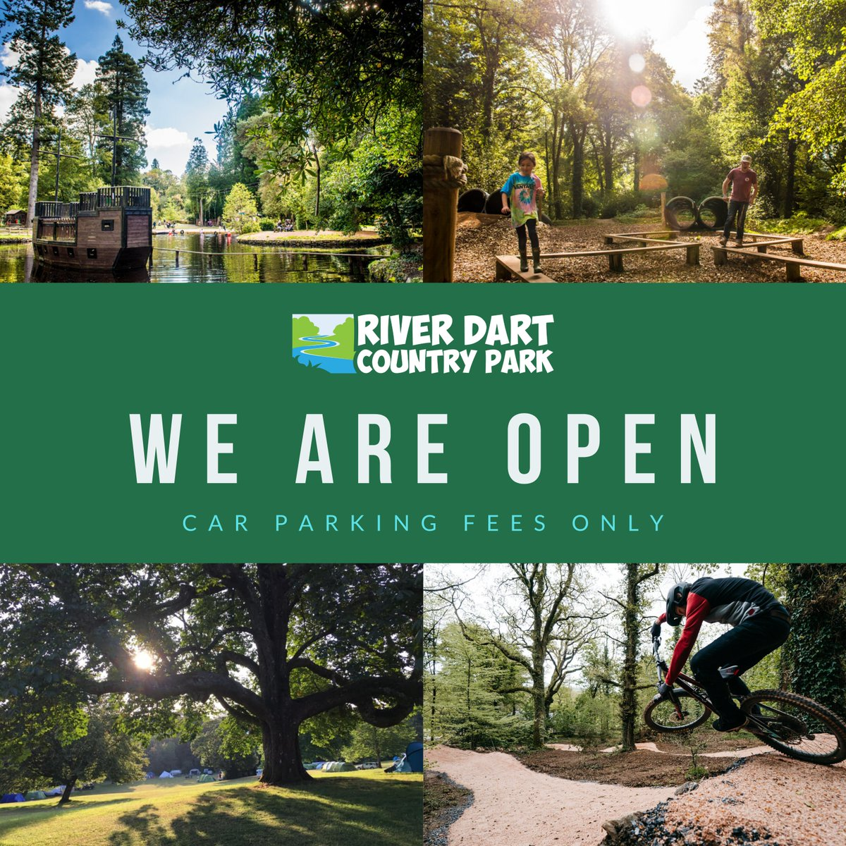 We are OPEN and CAR PARKING FEES ONLY until further notice! 😁👍🌳 Enjoy the fresh air of River Dart Country Park and explore the open space of over 90 acres of beautiful parkland. Visit riverdart.co.uk/opening-times-… for details.
