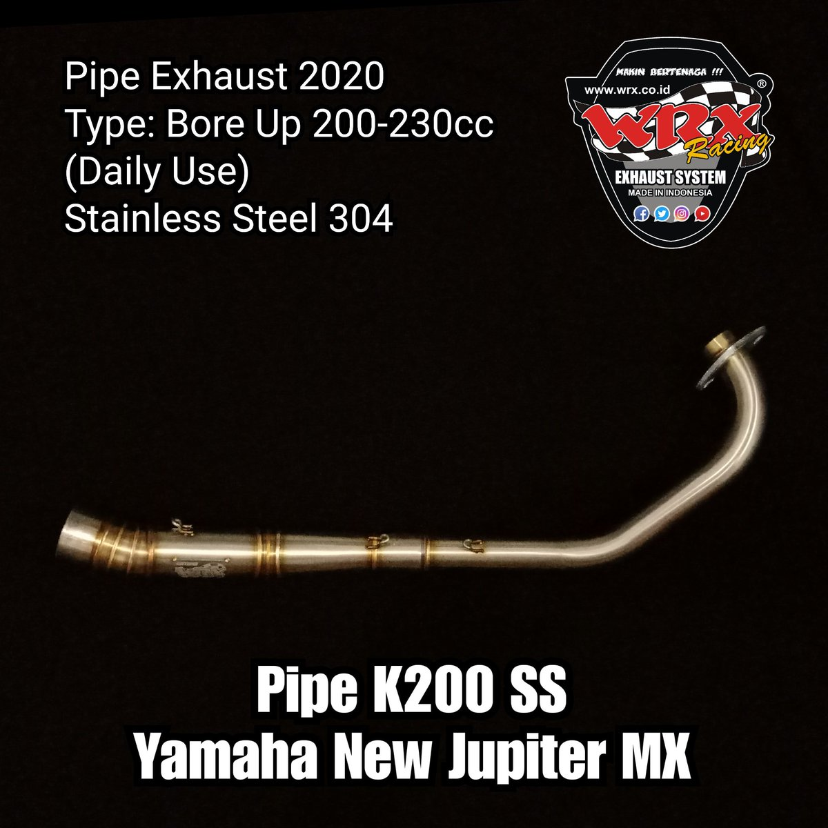 Pipe K200 SS Yamaha New Jupiter MX  Pipa knalpot tipe mesin Bore Up Harian 200-230cc (Inlet 50mm)  Stainless Steel 304  #newjupitermx #njmx #lc135 #k200pic.twitter.com/c1bXjGfODm
