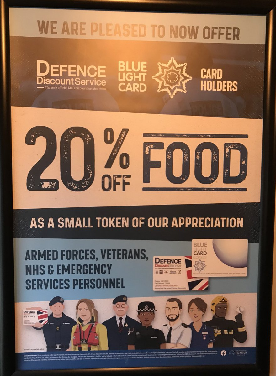 We are pleased to now offer 20% off FOOD as a small token of our appreciation to the ARMED FORCES, VETERANS, NHS & ALL EMERGENCY SERVICES PERSONNEL.........Please present your card on ordering your FOOD....!!