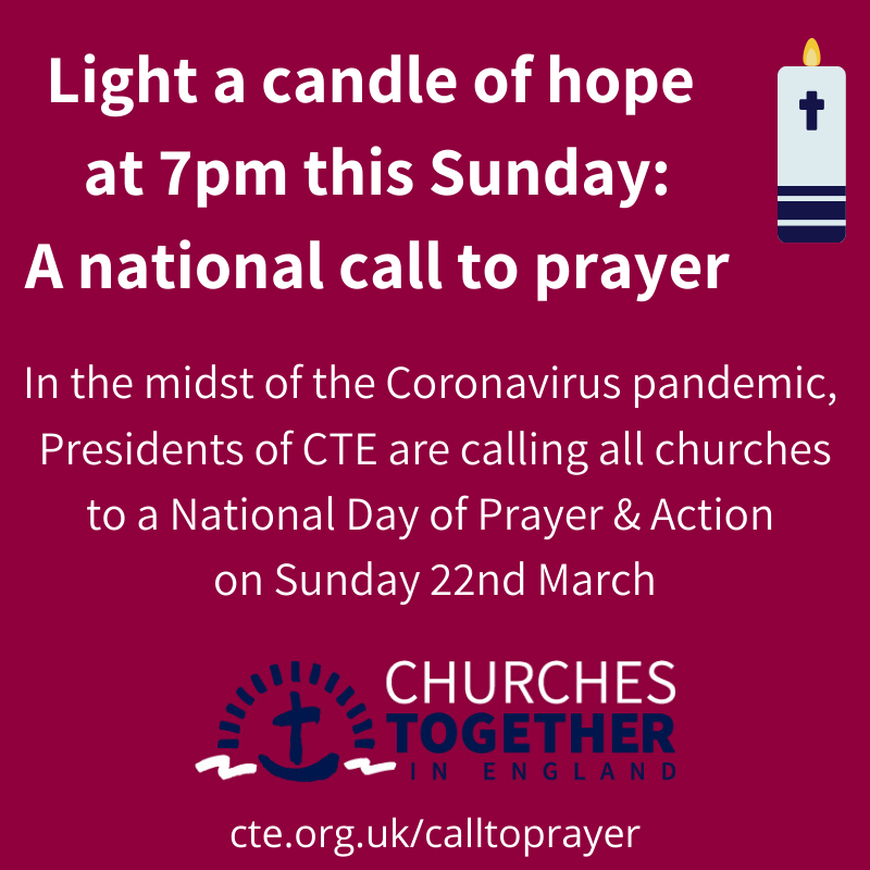 Light a #candleofhope: a national call to prayer   This Sunday, 22 March, #pray with Christians across Britain in the midst of the #coronavirus pandemic.   Easily spread the word with your WhatsApp contacts using this image...  https://t.co/5o0OpzQWSH   #unity #churchestogether https://t.co/l4UyJEU2JR