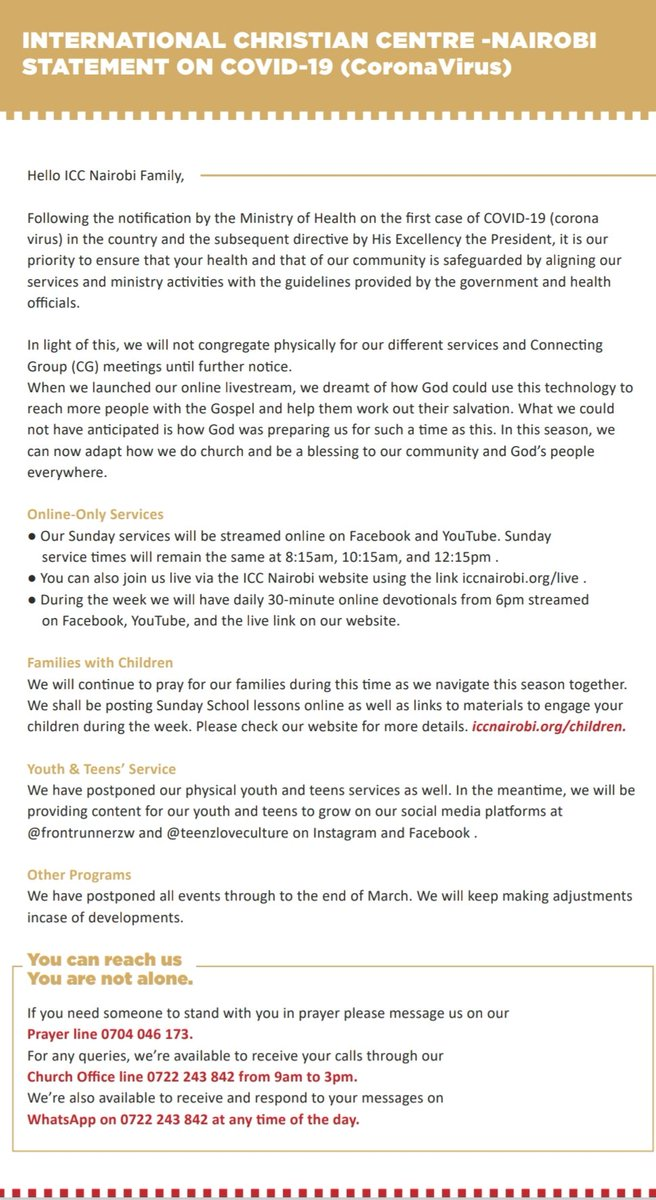 International Christian Centre-Nairobi official statement on COVID-19 We serve a faithful God and we believe that He will surely turn the tide of this outbreak. We love you and are praying for you ❤ #Engage #StaySafe