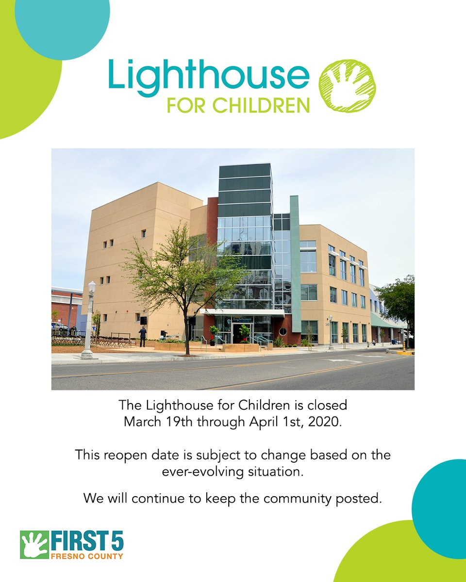We know children thrive in the context of their communities. We want to ensure the families we serve to stay healthy! Please know the Lighthouse for Children facility will be closed until April 1, 2020. #theirfuturefirst https://t.co/G8lvR37Izm