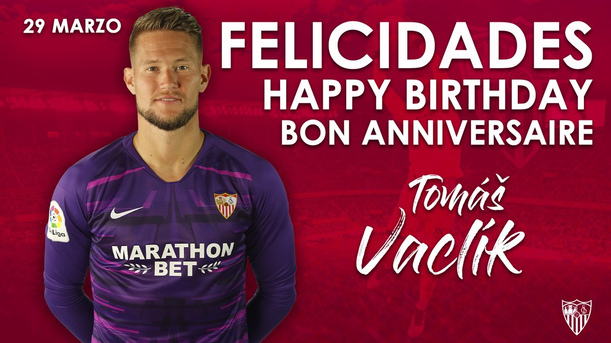 🎉 Happy birthday to our number 1⃣ shot-stopper, @vaclos31! Have a great day, Tomáš! 🎁🎈 #WeareSevilla