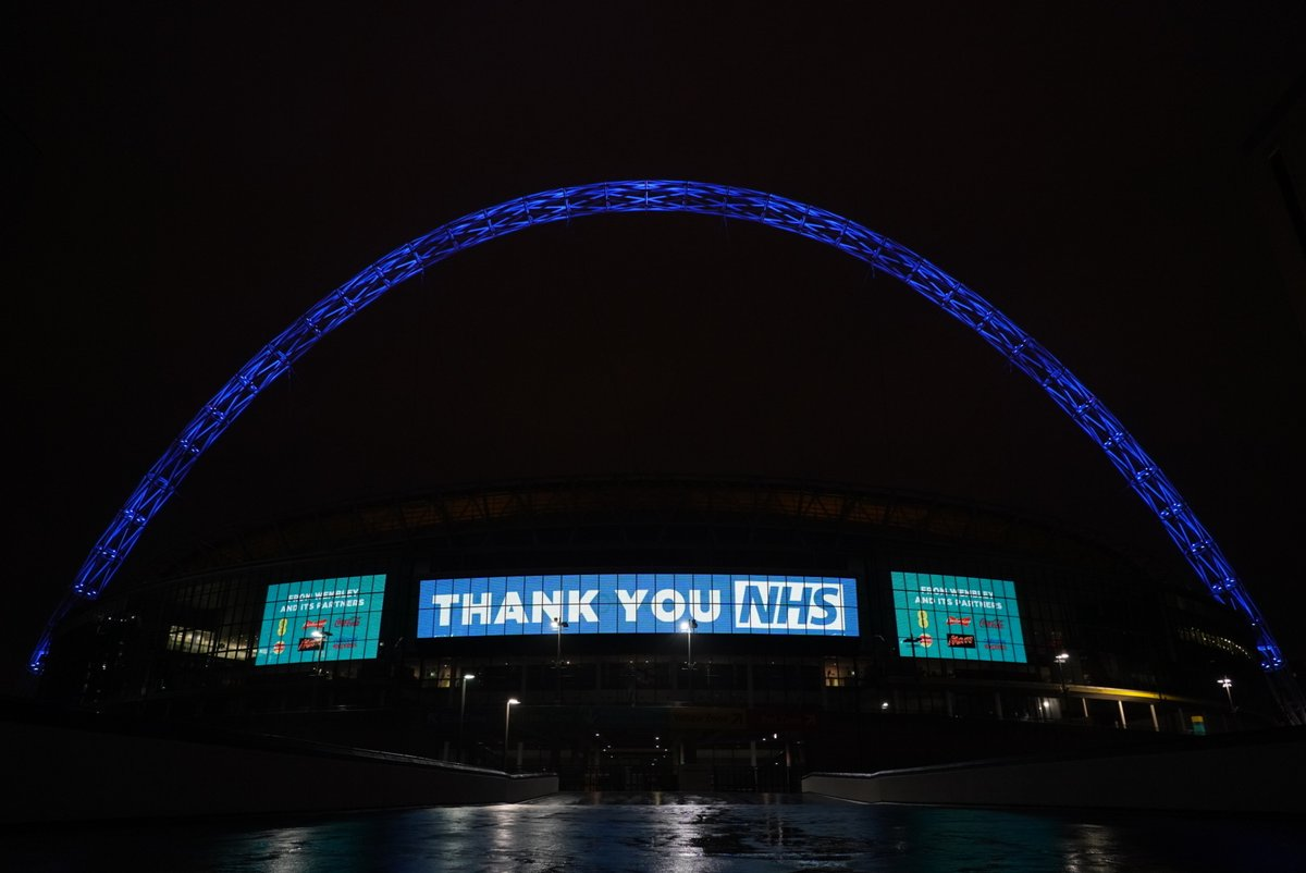 To all of our NHS & front-line staff working tirelessly through this challenging time, Wembley Stadium and its partners thank you.   Our arch will be lit up blue each night to shine a light on your efforts and show our appreciation during this unprecedented period.  #NHSthankyou